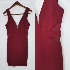 Lulu's Dresses - Back on My Beat Wine Red Mesh Bodycon Dress